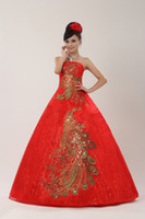 Wholesale red wedding frocks resale online - Plus size Red Strapless with Gold Wedding Dresses Cheap Bride Frocks Ball Gowns Vestidos De Novia