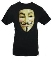ingrosso v immagini delle maglie a collo-T-Shirt uomo V per Vendetta - Maschera Guy Fawkes Immagine T-Shirt Uomo T Shirt estiva O collo 100% cotone Uomo manica corta T-Shirt