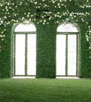 fondos personalizados impresos por computadora al por mayor-5x7ft Vinilo Digital Flores blancas Fondo de estudio de fotografía de fondo de la boda romántica piso de la pared de hierba