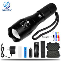 Wholesale Cree Xml Battery - CREE XML T6 4000Lumens 5 model High Power LED Torches Zoomable Tactical LED Flashlights torch light for 3xAAA or 1x18650 battery