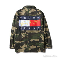 Wholesale teenagers jeans - Teenager Camo Jeans Jacket Hoodies American Style Fashion Men's Skateboard Hoodie Sweatshirts Denim Casual Jackets Women Hip-Hop Loose