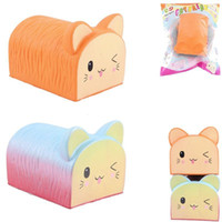 Wholesale rubber cat toy - Kawaii Cat Toast Squishy Colorful Bread Slow Rising Super Soft Jumbo Scented Squeeze Toys Phone Charms Gift BBA296