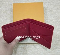 Wholesale Black Leather Clutch Purse - high quality Red Wallets Purse Clutch Bags Classic Brand Short Wallet Gifts For Men Women Designer Coin Purses With Box