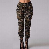 pantalones de mujer al por mayor-Moda para mujer de camuflaje ejército flaco Fit pantalones elásticos Pantalones de cintura convergente damas Femme pantalones venta caliente más tamaño