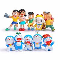 Wholesale anime doraemon online - 10pcs set Anime Cartoon Cute Doraemon PVC Action Figure phone Keychains Collectible cm Model Toys Dolls Kids Gift