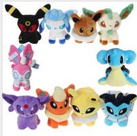 Wholesale pokemon big doll - 14 cm Poke Stuffed Dolls Poke Mon Plush Toys Jigglypuff Gengar Lucario Toys Umbreon Eevee Espeon Gifts Suicune Charizard Wobbuffet KKA3633