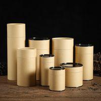 tanques de papel al por mayor-Kraft Paper Packing Tank Comida por encargo Eco Friendly Scented Tea Tés blancos Café Paper Tube Frascos de almacenamiento 3qa5 gg