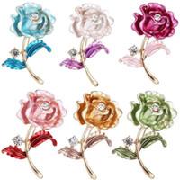 kristall roségold brosche großhandel-Rose Broschen Pins Kristall Rose Blume Pins Gold Blume Corsage für Frauen Accessoires Schmuck Valentinstag Geschenk
