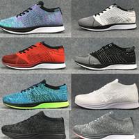 sapatos casuais venda por atacado-Nike Flyknit Racer Top Qualidade Atacado Homens Mulheres Casual Trainer Chukka Preto Vermelho Azul Cinza Leve Respirável Sapatos de Caminhada