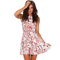 belle kostüm kadınlar toptan satış-Cadılar bayramı partisi cosplay kostüm kadınlar için yüksek bel pilili etek kanlı kabak yarasa kafatası 3D baskılı elbise