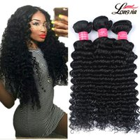 Wholesale deep curly virgin hair - Gagaqueen Wholesale 8a Brazilian Virgin Hair Deep Wave Unprocessed Brazilian Deep Curly Wave Human Hair Extensions Deep wave Hair 3 bundles