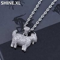 plato de cabra al por mayor-Hip Hop Iced Out Animal Goat Necklace Colgante Chapado en oro plateado Micro cadena de circón pavimentada con cadena de cuerda