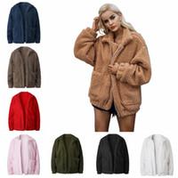 xxl peluş toptan satış-Kadın Peluş Polar Sherpa Kabanlar 8 Renkler Fermuar Hırka Ceketler Peluş Gevşek Açık Ceket 3 adet OOA5961 Tops