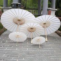 adornos de paraguas al por mayor-Paraguas de papel de boda nupcial Sombrillas Sombrilla artesanal china lisa hecha a mano para adornos colgantes Diámetro: 20-30-40-60cm HH7-993