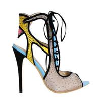 neue stilvolle absatzschuhe großhandel-Neue Stilvolle Mode Frauen Sandalen Mischfarbe Stiletto Kristall Stud Ausschnitte Schnürung Peep Toe Slingback Thin High Heels Tägliches Kleid Schuhe