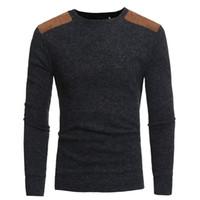 jersey de punto para hombres al por mayor-Hombres de invierno cálido jersey de punto jersey informal cuello redondo de manga larga delgado superior alta Qualty envío gratis