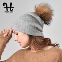 9daab5fd988808 FURTALK Rabbit Women Spring Autumn Hat knit Beanie Hat Cap for Girls Slouchy  Hats for Women pompom