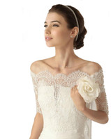 Wholesale Cheap Lace Yarn - Whose Free shipping off the shoulder white Wedding Jacket Wrap lace for Bridal cheap 2018 new arrival