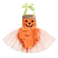 naranja bodysuit al por mayor-2018 Bebé Infantil Niña Cuello de Halloween Calabaza Body Falda Naranja Tutu Tul traje de disfraces ropa linda de vacaciones ZX 45