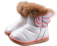 150c2cdb6f51a4 Kinder Stiefel Mädchen Winterstiefel Schnee Kinder Warme Plattform Plüsch  PU Flügel bota menina infantil Weiß Rosa Rot Größe 21-30