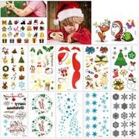 набор рождественских наклеек оптовых-Рождество временные татуировки комплект Счастливого Рождества с Новым годом боди-арт водонепроницаемый наклейки для детей партии Санта