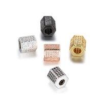 perlen rosa armband großhandel-Pcs Gold / Silber / Rose Gold Pflastern Zirkon Metall Kupferdichtung Perlen Nette Hex Perlen Schmuck Armband DIY