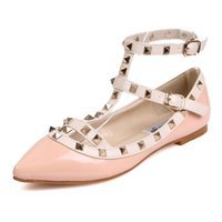 Wholesale color block strap heels - New rivet pointed toe women color block patent leather gladiator flats sexy stud women ballet flat shoes brand flats xz275