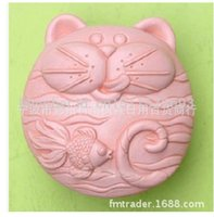 Wholesale handmade molds resale online - New cat love fish handmade soap molds silicone baking tools kitchen cake molds decorations Sugarcraft FM285