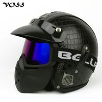 vespa kask xl toptan satış-VOSS Faux Deri Için Harley Kaskları 3/4 Motosiklet Chopper Bisiklet kask açık yüz vintage moto kask ile gözlüğü maske, V-085B