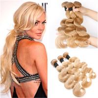 hint remy insan saç sarışın toptan satış-Vücut Dalga Hint Virgin İnsan Saç # 27 Açık Kahverengi Örgü Demetleri 3 Adet 300 Gram Bal Sarışın Bakire Remy İnsan Saç Atkı Örgüleri 10-30