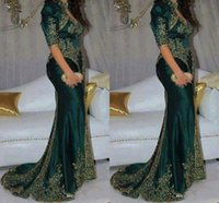 indischen stil prom kleid großhandel-Wunderschöne dunkelgrüne Abendkleider Stickerei Perlen Pailletten indischen Stil halben Ärmel Abendkleider High Neck Meerjungfrau Partykleid