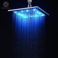 Wholesale square rain shower lights - LED 10 Inch Waterfall Rain Shower Solid Brass Shower Head with Color Changing Light Chrome Finished