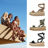 Wholesale ladies suede platform wedge shoes - Women New Summer Straw Hemp Wedges Sandals Lady Casual Cross Straps Platform Shoes Lady Peep-toe Platform Sandals