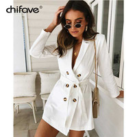 çift düğmeli takım elbisesi toptan satış-2018 Kadın Blazer ve Ceket Bahar Sonbahar Uzun Kollu Çift Düğme Blazers Kadın Beyaz Ince Ofis Lady Suit Ceket chifave