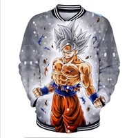 ingrosso marche di abbigliamento giapponese-Hip Hop Fashion Brand Brand giapponese Anime Dragon Ball Z Sun Wukong Giacca da baseball da uomo Super Saiyan Goku 3D Baseball Uniform