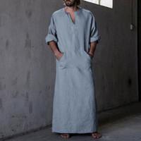 vestido de estilo abaya al por mayor-Estilo musulmán para hombre Kaftan Robe Dress Negro Abaya Ropa árabe Hombre Ropa islámica Arabe Hombre Albornoz Lounge Vestido de mujer Masculino
