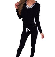 Wholesale hit clothing online - women casual sports hooded Sweatshirts pants PC and retail clothing female runners hit color suit woman Sweatshirts Tracksuit
