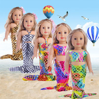 Wholesale American Girl Dolls Clothes - Hot sale glittering mermaid 2pcs set 18 inches American girl doll baby doll clothes accessories the best christmas gift for kids girls