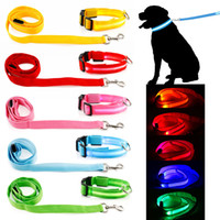 Wholesale Luminous Dog Harness - Wholesale-Pet Dog Collar Luminous Dogs leash Luminous Led Flashing Light Harness Nylon Safety Leash Rope pet supplies for small dog puppy
