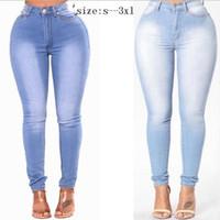 poussée de poche achat en gros de-Plus la taille taille haute jeans maigres femmes push up stretch jeans denim bodycon crayon pantalons femmes élastiques poche pantalons