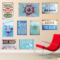 pintura de la playa del vintage al por mayor-Compas placa de metal de la vendimia Signos Home Wall Art Posters pintura decorativa PLAYA Placas para Bar Cafe Pub Garage 30x20cm N113