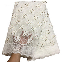 Wholesale Tulle Lace Fabric Wholesale - 2018 white African Lace Fabric French Nigerian Mesh Tulle Embroidered Guipure Lace Swiss Voile Lace In Switzerland