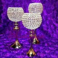 suporte de vela do casamento do vidro de cristal venda por atacado-Facet cristal candelabro de bola suporte de vela de cristal giftware, cristal claro tealight carrinho de flor de vidro peça central do casamento