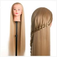 coiffure achat en gros de-80cm cheveux femme mannequin coiffure coiffures Coiffure Styling Tête de formation pour coiffeurs poupées