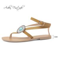 a216739e4037b0 Arden Furtado 2018 summer crystal flowers rhinestone flip-flops small size  32 33 big size 44 45 flat casual sandals concise new