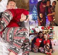xmas baba toptan satış-Noel Eşleşen Aile Pijama Setleri Anne ve Kızı Baba ve Oğul Eşleşen Giysi Noel Elk Baskı