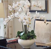 ingrosso artificial flowers arrangements-orchidea Phalaenopsis vero tocco fiore con foglie artificiali orchidee arrangiamento fai da te organizzare fiori senza vaso