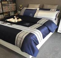 conjunto completo de edredon de cama venda por atacado-Conjuntos de cama de algodão de luxo 4 Pcs Breve Estilo Europeu Capa de Edredão com Fronha Completa King Size