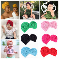 Wholesale sports props resale online - 2PCS Set Family Matching Hat solid bow knot hat Mom Baby Sport Yoga Turban Hats Autumn Winter Gorros Beanies Photo Props FFA997