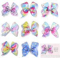 Wholesale rainbow rare - 8 style available ! RARE Jojo 5inch unicorn Large rhinestone hair bow Ombre rainbow ribbon hair bow clip 24pcs